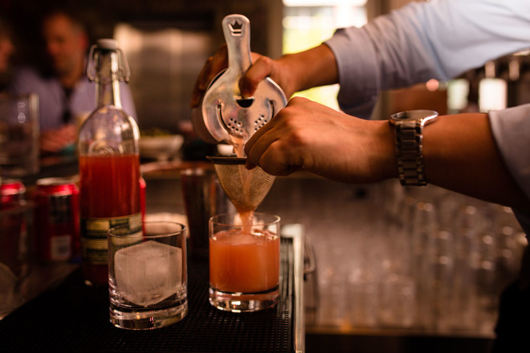 pouring cocktails at mistral